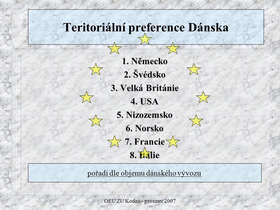 OEÚ ZÚ Kodaň - prosinec 2007 Teritoriální preference Dánska 1.