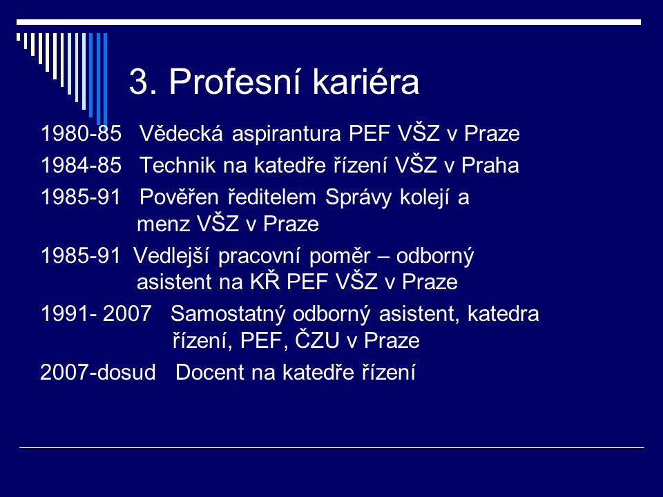 3. Profesní kariéra 1980-85 Vědecká aspirantura PEF VŠZ v Praze 1984-85 Technik na katedře řízení VŠZ v Praha 1985-91 Pověřen ředitelem Správy kolejí