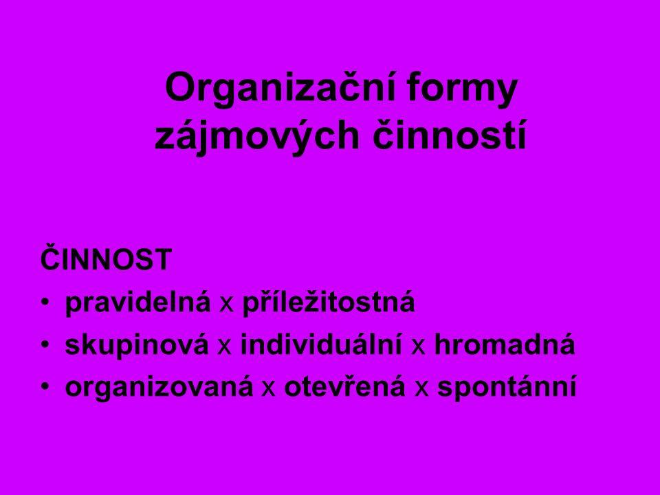 Organizační formy zájmových činností ČINNOST pravidelná x příležitostná skupinová x individuální x hromadná organizovaná x otevřená x spontánní