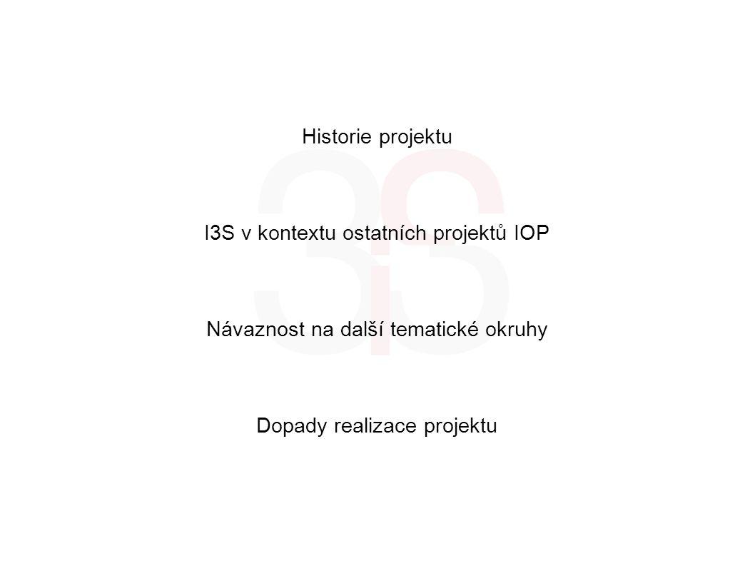 Historie projektu I3S v kontextu ostatních projektů IOP Návaznost na další tematické okruhy Dopady realizace projektu