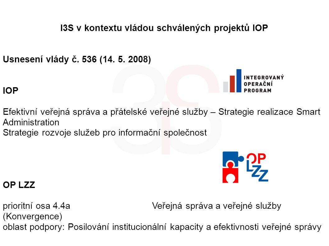 I3S v kontextu vládou schválených projektů IOP Usnesení vlády č. 536 (14. 5. 2008) IOP Efektivní veřejná správa a přátelské veřejné služby – Strategie