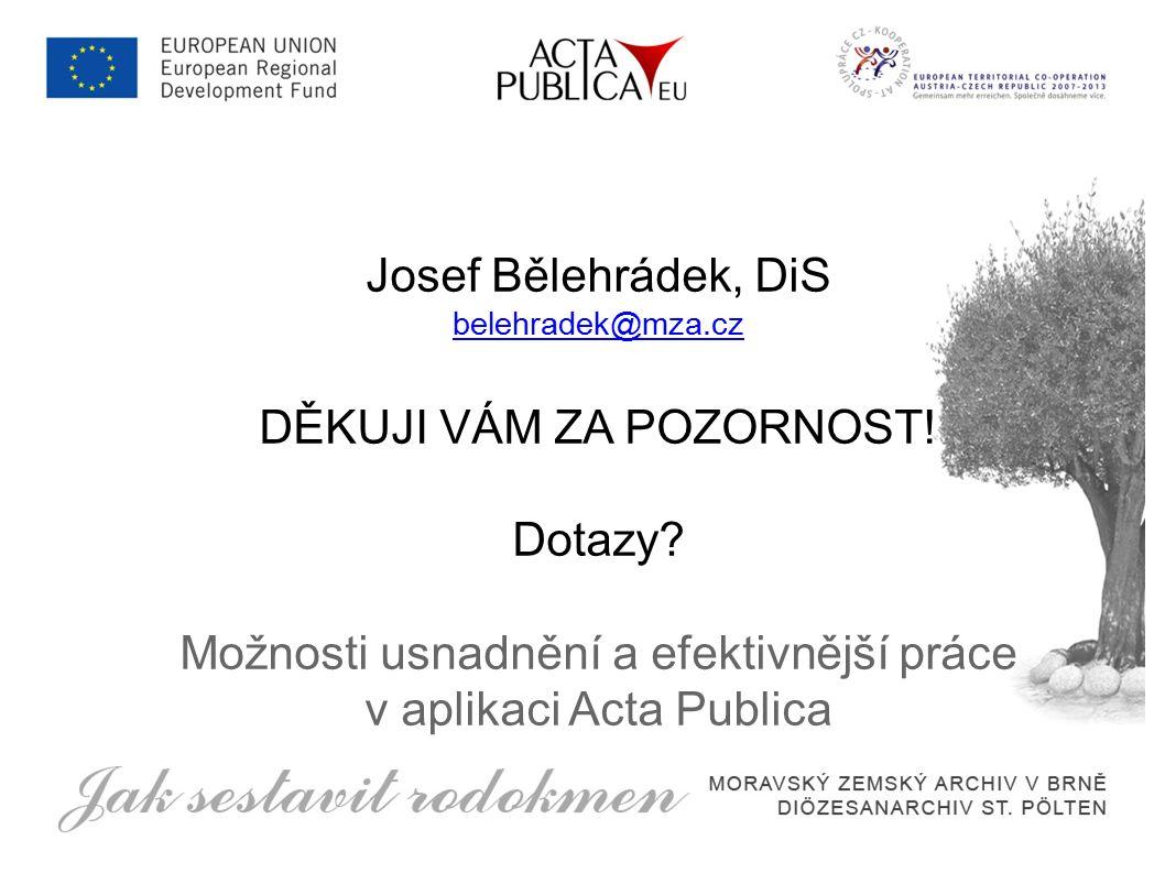 Josef Bělehrádek, DiS belehradek@mza.cz DĚKUJI VÁM ZA POZORNOST.