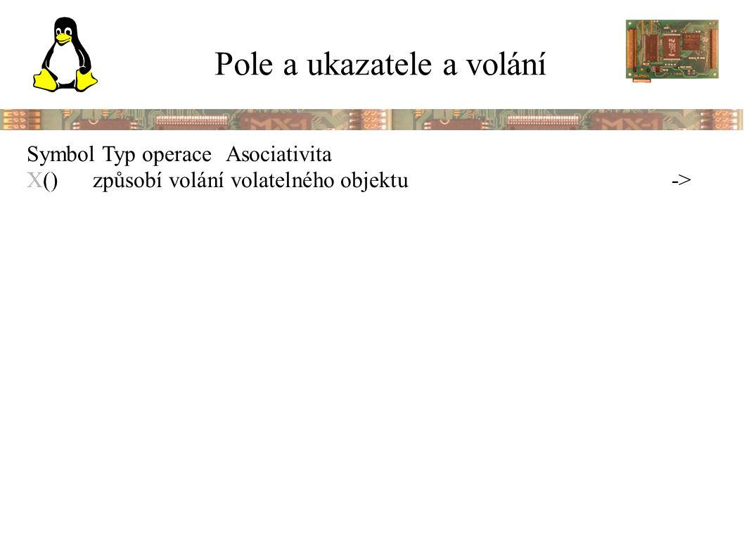 Pole a ukazatele a volání Symbol Typ operaceAsociativita X()způsobí volání volatelného objektu->