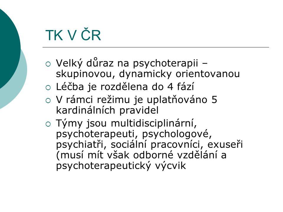 TK V ČR  Velký důraz na psychoterapii – skupinovou, dynamicky orientovanou  Léčba je rozdělena do 4 fází  V rámci režimu je uplatňováno 5 kardinálních pravidel  Týmy jsou multidisciplinární, psychoterapeuti, psychologové, psychiatři, sociální pracovníci, exuseři (musí mít však odborné vzdělání a psychoterapeutický výcvik