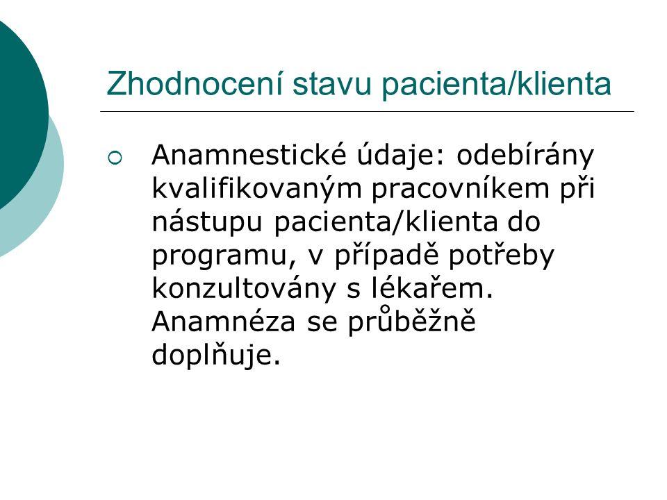 Zhodnocení stavu pacienta/klienta  Anamnestické údaje: odebírány kvalifikovaným pracovníkem při nástupu pacienta/klienta do programu, v případě potřeby konzultovány s lékařem.