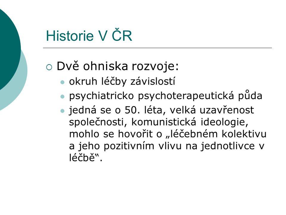 Historie V ČR  Dvě ohniska rozvoje: okruh léčby závislostí psychiatricko psychoterapeutická půda jedná se o 50.