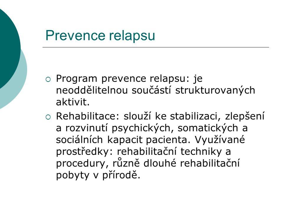 Prevence relapsu  Program prevence relapsu: je neoddělitelnou součástí strukturovaných aktivit.