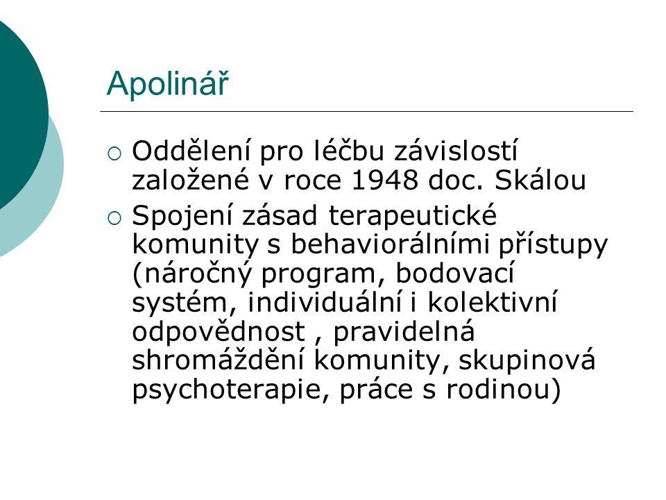 Apolinář  Oddělení pro léčbu závislostí založené v roce 1948 doc.
