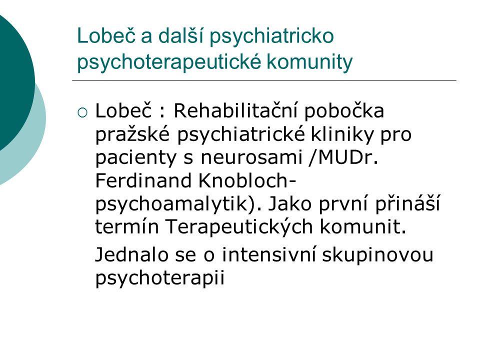 Lobeč a další psychiatricko psychoterapeutické komunity  Lobeč : Rehabilitační pobočka pražské psychiatrické kliniky pro pacienty s neurosami /MUDr.