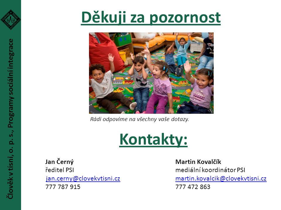 Děkuji za pozornost Kontakty: Jan Černý Martin Kovalčík ředitel PSImediální koordinátor PSI jan.cerny@clovekvtisni.czmartin.kovalcik@clovekvtisni.czja