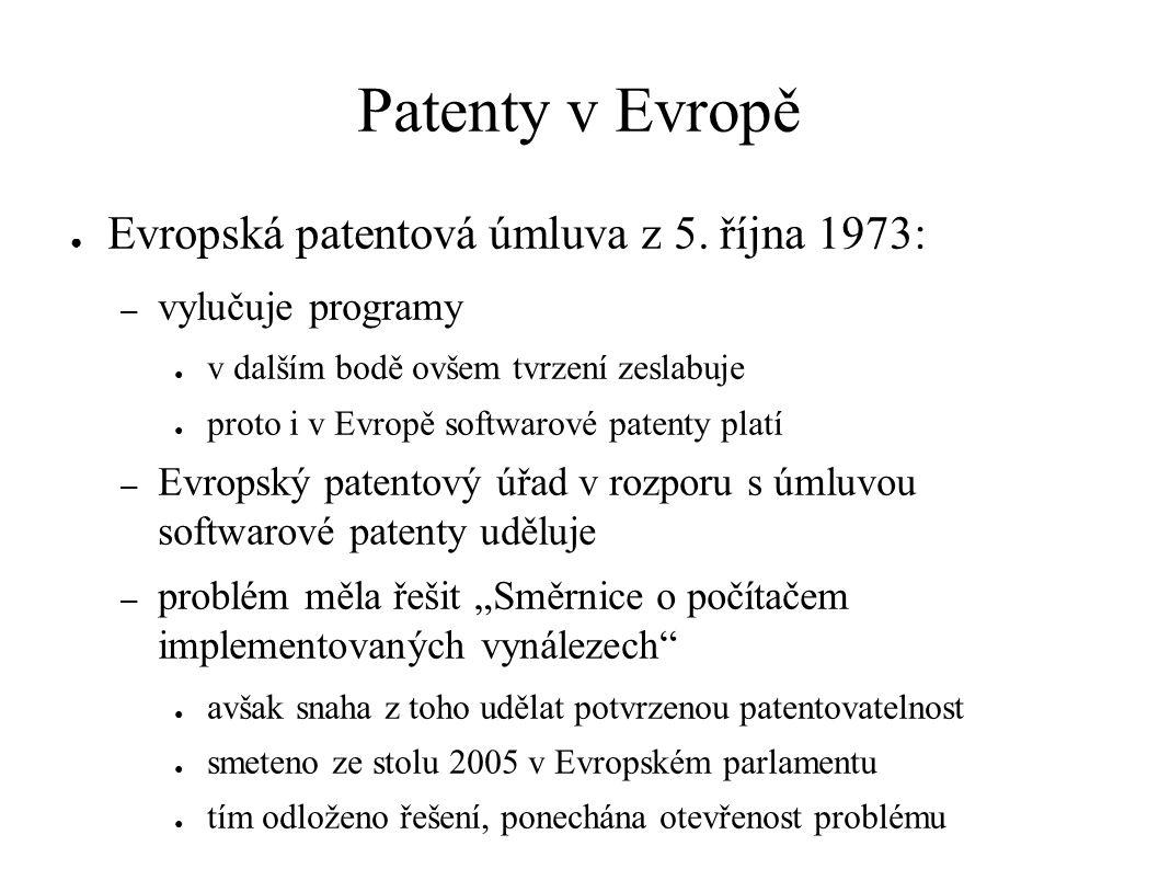 Patenty v Evropě ● Evropská patentová úmluva z 5.