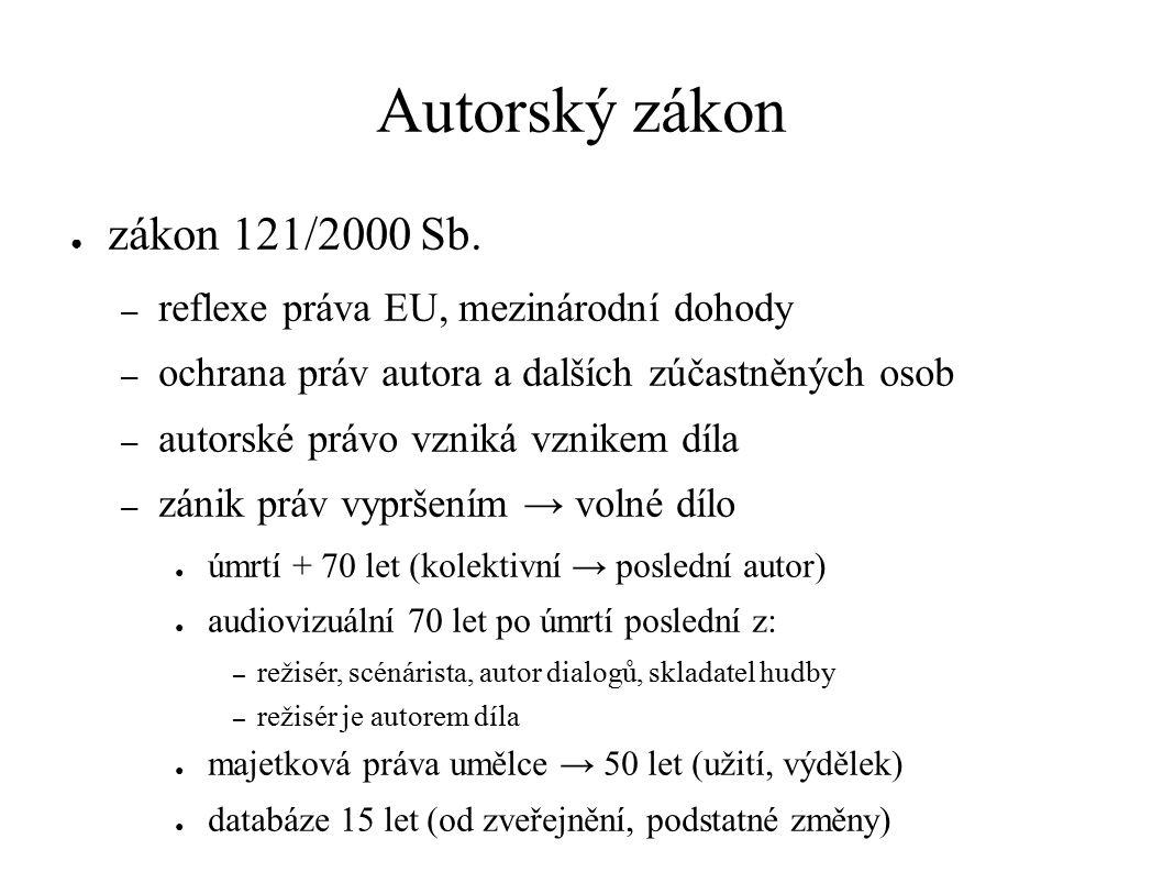Autorský zákon ● zákon 121/2000 Sb.