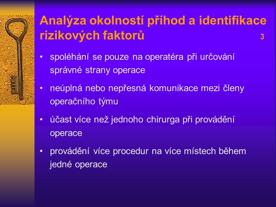 Analýza okolností příhod a identifikace rizikových faktorů 3 spoléhání se pouze na operatéra při určování správné strany operace neúplná nebo nepřesná