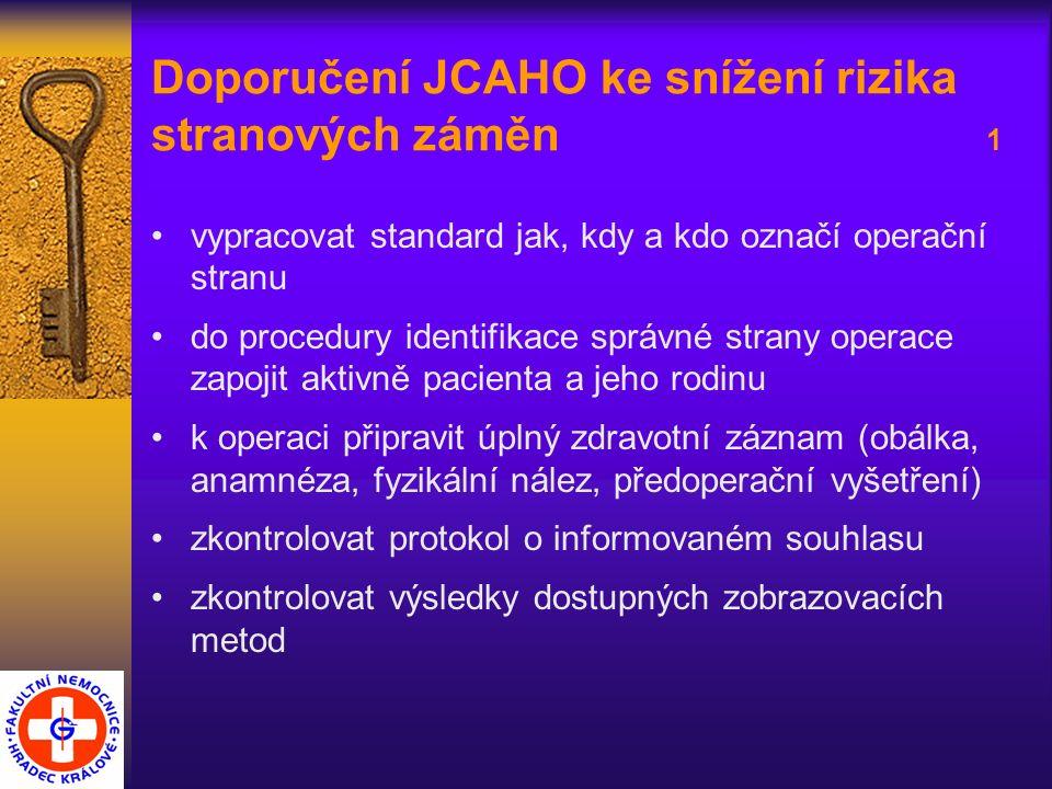 Doporučení JCAHO ke snížení rizika stranových záměn 1 vypracovat standard jak, kdy a kdo označí operační stranu do procedury identifikace správné strany operace zapojit aktivně pacienta a jeho rodinu k operaci připravit úplný zdravotní záznam (obálka, anamnéza, fyzikální nález, předoperační vyšetření) zkontrolovat protokol o informovaném souhlasu zkontrolovat výsledky dostupných zobrazovacích metod
