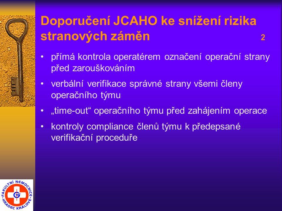 """Doporučení JCAHO ke snížení rizika stranových záměn 2 přímá kontrola operatérem označení operační strany před zarouškováním verbální verifikace správné strany všemi členy operačního týmu """"time-out operačního týmu před zahájením operace kontroly compliance členů týmu k předepsané verifikační proceduře"""