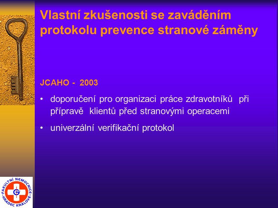 Vlastní zkušenosti se zaváděním protokolu prevence stranové záměny JCAHO - 2003 doporučení pro organizaci práce zdravotníků při přípravě klientů před stranovými operacemi univerzální verifikační protokol