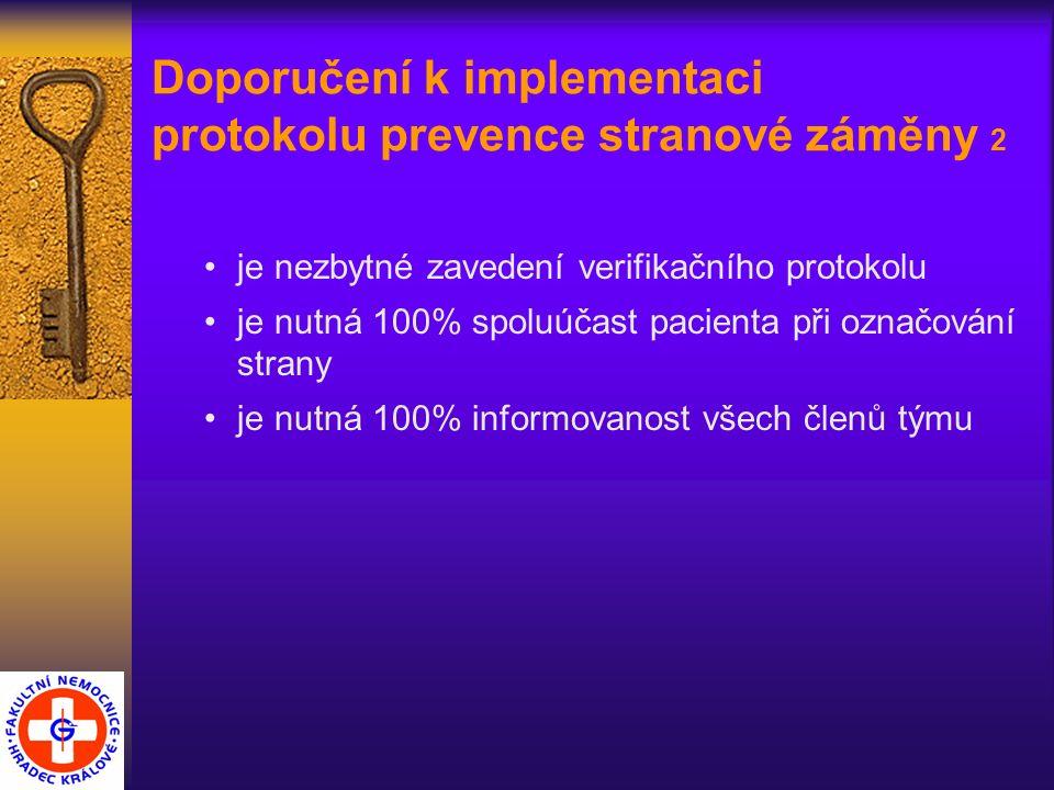 Doporučení k implementaci protokolu prevence stranové záměny 2 je nezbytné zavedení verifikačního protokolu je nutná 100% spoluúčast pacienta při označování strany je nutná 100% informovanost všech členů týmu