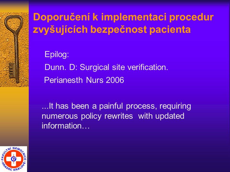 Doporučení k implementaci procedur zvyšujících bezpečnost pacienta Epilog: Dunn.
