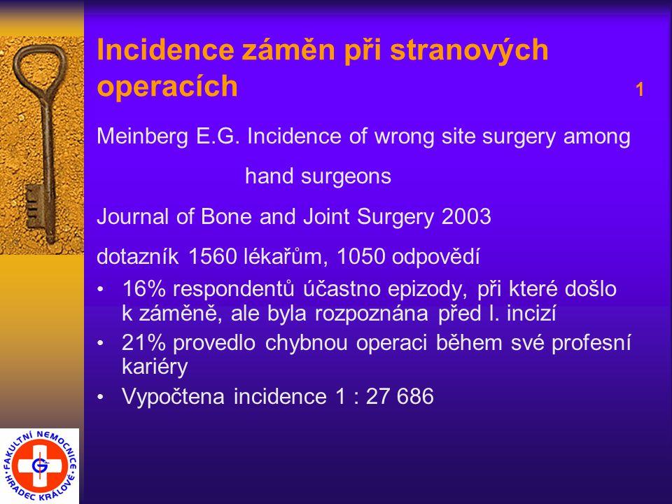 Incidence záměn při stranových operacích 2 Bjorn B.: Wrong site surgery: Incidence and prevention Ugesrk Laeger, 2006 Incidence 1 : 32 500 operací Kwaan M.R.: Incidence, patterns, and prevention of wrong site surgery Arch.