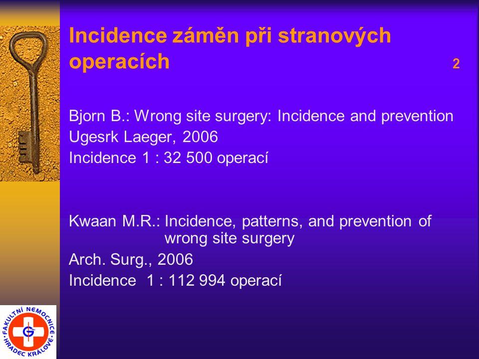 Incidence záměn při stranových operacích 2 Bjorn B.: Wrong site surgery: Incidence and prevention Ugesrk Laeger, 2006 Incidence 1 : 32 500 operací Kwa