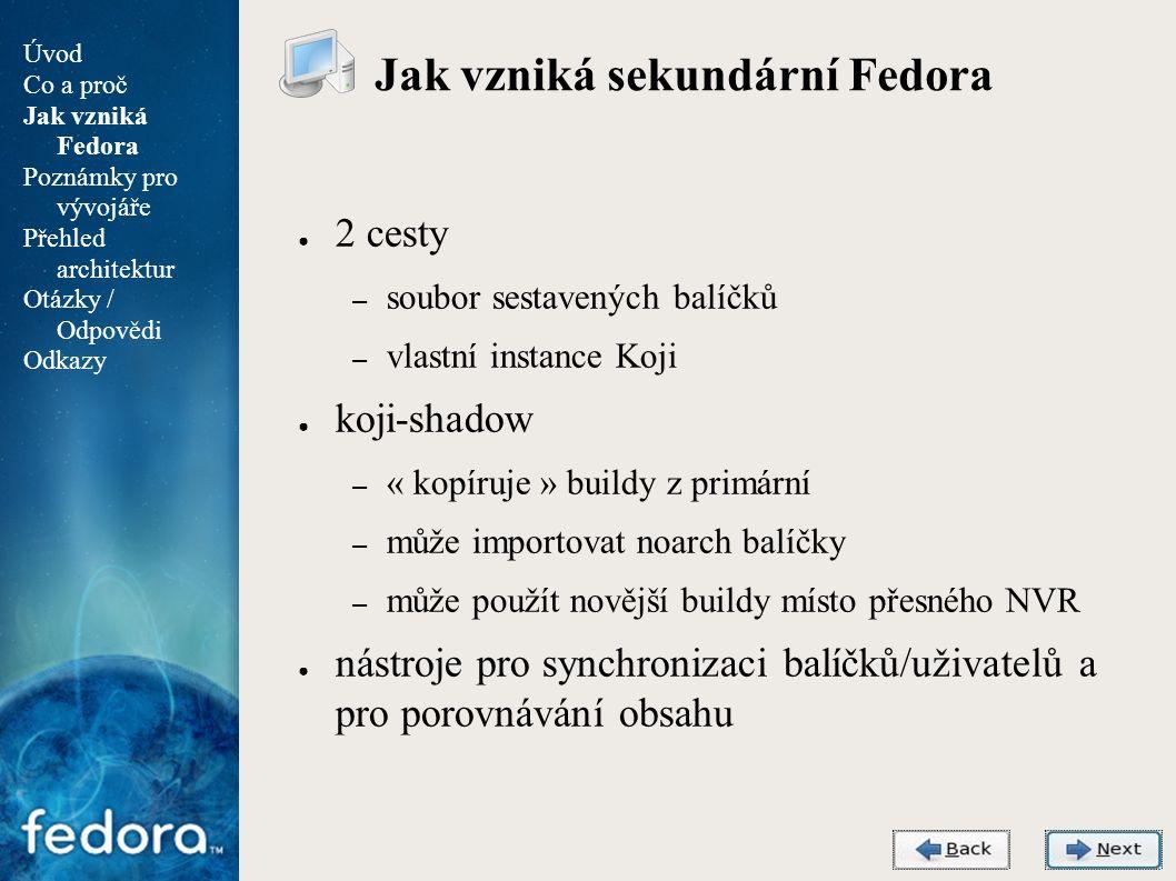 Agenda Odkazy ● Fedora Project – http://fedoraproject.org/ ● Fedora Architectures – http://fedoraproject.org/wiki/Architectures ● Archiv s vydáními Fedory pro sekundární architektury – http://secondary.fedoraproject.org/pub/fedora-secondary/ ● Koji – http://fedoraproject.org/wiki/Koji ● Hercules – http://www.hercules-390.org/ ● Poznámky pro vývojáře a správce balíčků – https://fedoraproject.org/wiki/Architectures/s390x Úvod Co a proč Jak vzniká Fedora Poznámky pro vývojáře Přehled architektur Otázky / Odpovědi Odkazy