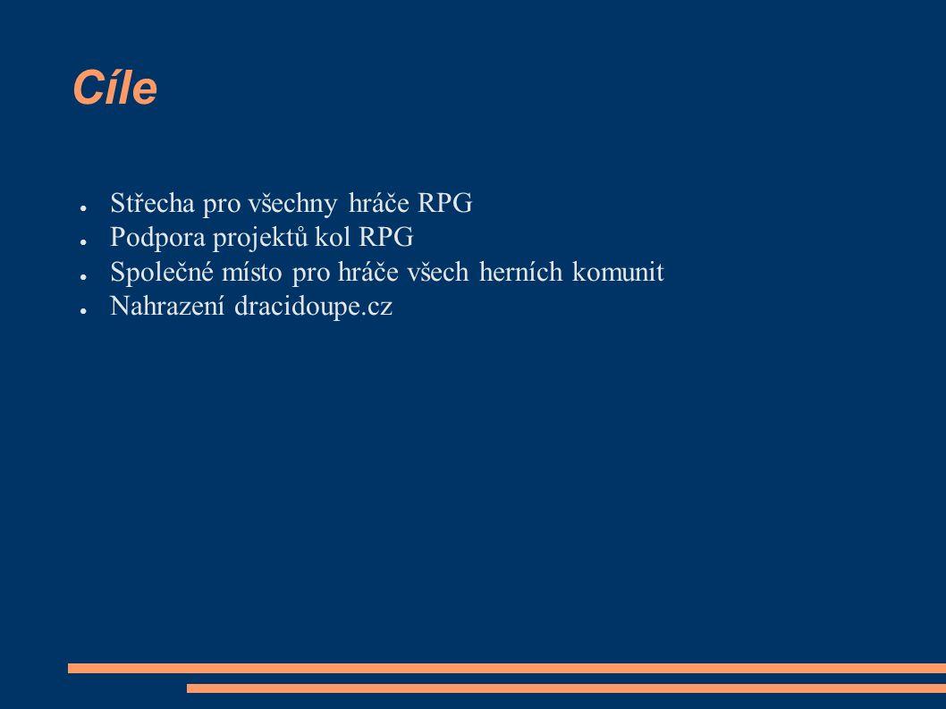 Cíle ● Střecha pro všechny hráče RPG ● Podpora projektů kol RPG ● Společné místo pro hráče všech herních komunit ● Nahrazení dracidoupe.cz
