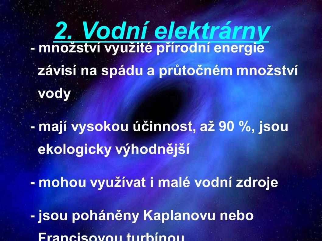 2.Vodní elektrárny c) přečerpávací - zvláštní druh akumulačních elektr.