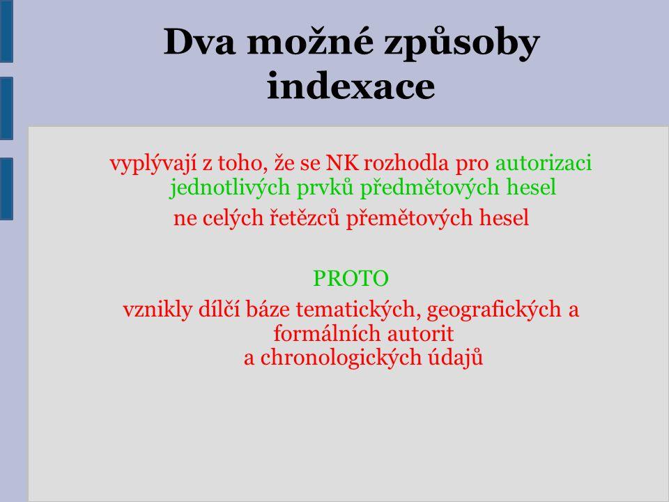 Dva možné způsoby indexace vyplývají z toho, že se NK rozhodla pro autorizaci jednotlivých prvků předmětových hesel ne celých řetězců přemětových hese