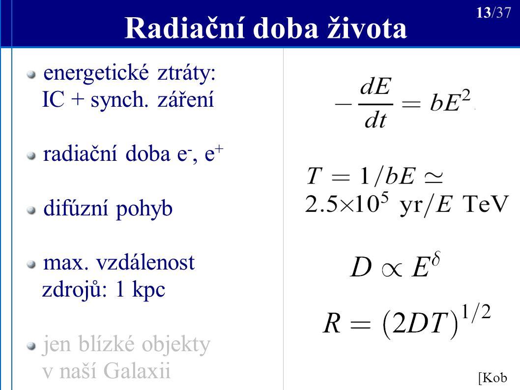 Radiační doba života [Kob ] 13/37 energetické ztráty: IC + synch.