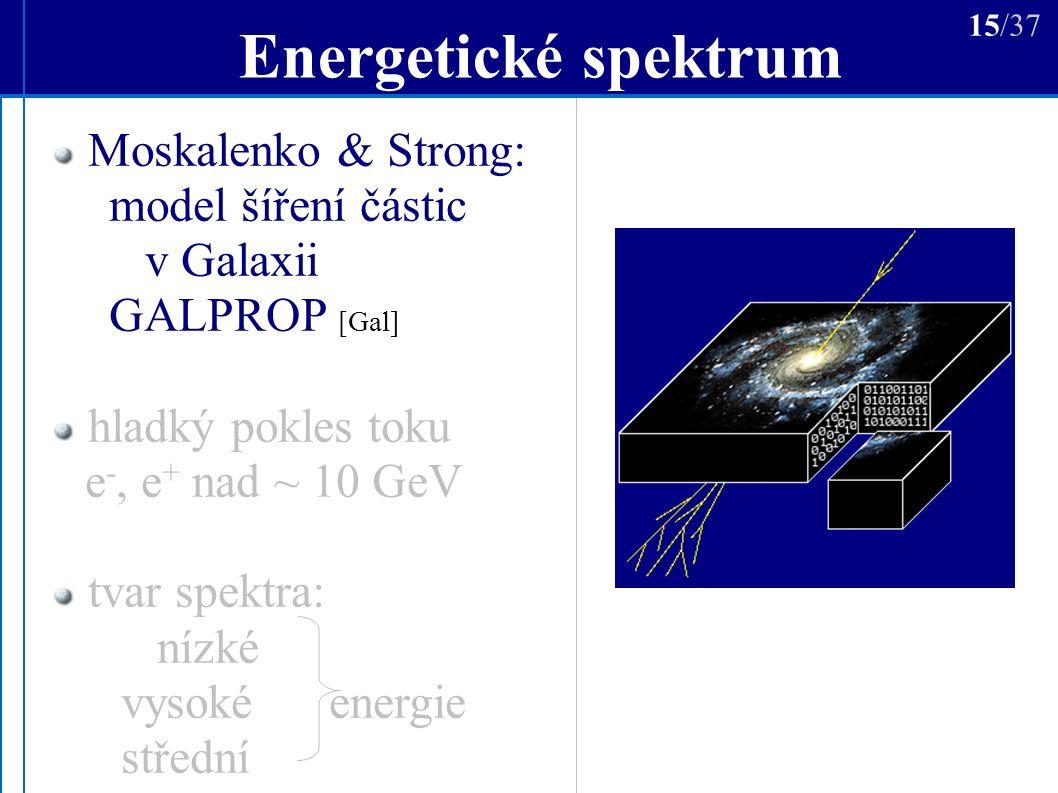 Energetické spektrum Moskalenko & Strong: model šíření částic v Galaxii GALPROP [Gal] hladký pokles toku e -, e + nad ~ 10 GeV tvar spektra: nízké vysoké energie střední 15/37