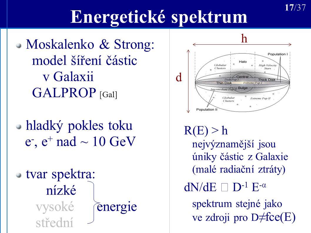 Energetické spektrum R(E) > h nejvýznamější jsou úniky částic z Galaxie (malé radiační ztráty) dN/dE  D -1 E -α spektrum stejné jako ve zdroji pro D ≠fce(E) h d 17/37 Moskalenko & Strong: model šíření částic v Galaxii GALPROP [Gal] hladký pokles toku e -, e + nad ~ 10 GeV tvar spektra: nízké vysoké energie střední