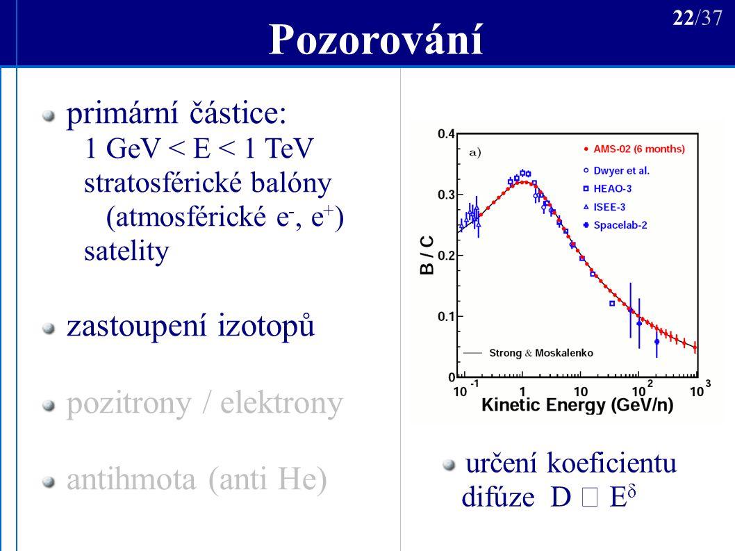 Pozorování určení koeficientu difúze D  E δ 22/37 primární částice: 1 GeV < E < 1 TeV stratosférické balóny (atmosférické e -, e + ) satelity zastoupení izotopů pozitrony / elektrony antihmota (anti He)