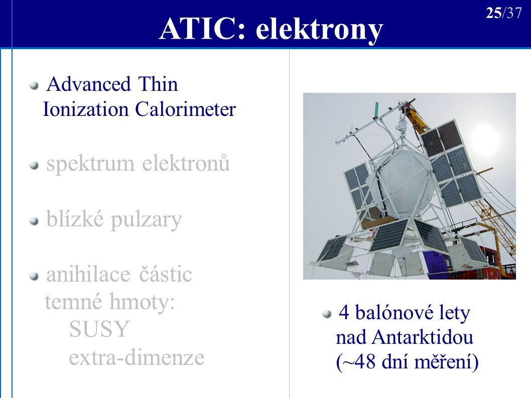 ATIC: elektrony Advanced Thin Ionization Calorimeter spektrum elektronů blízké pulzary anihilace částic temné hmoty: SUSY extra-dimenze 4 balónové lety nad Antarktidou (~48 dní měření) 25/37