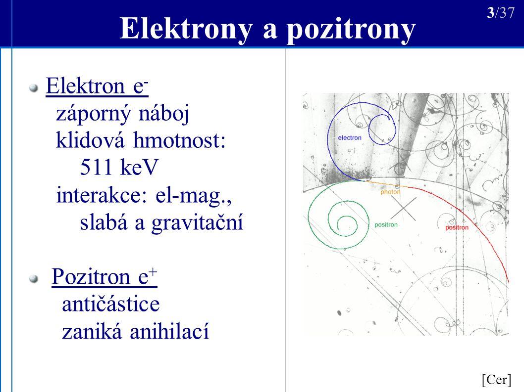 Vysokoenergetické e -, e + [Aha] 4/37 Urychlování: pouze e - zbytky po výbuších supernov, pulzary Sekundární: produkty interakce kosmického záření jediný zdroj e + ?
