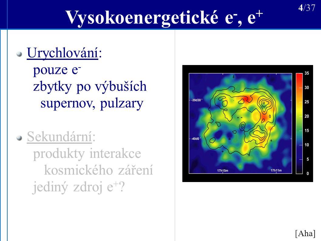 Vysokoenergetické e -, e + [Aha] 4/37 Urychlování: pouze e - zbytky po výbuších supernov, pulzary Sekundární: produkty interakce kosmického záření jediný zdroj e +