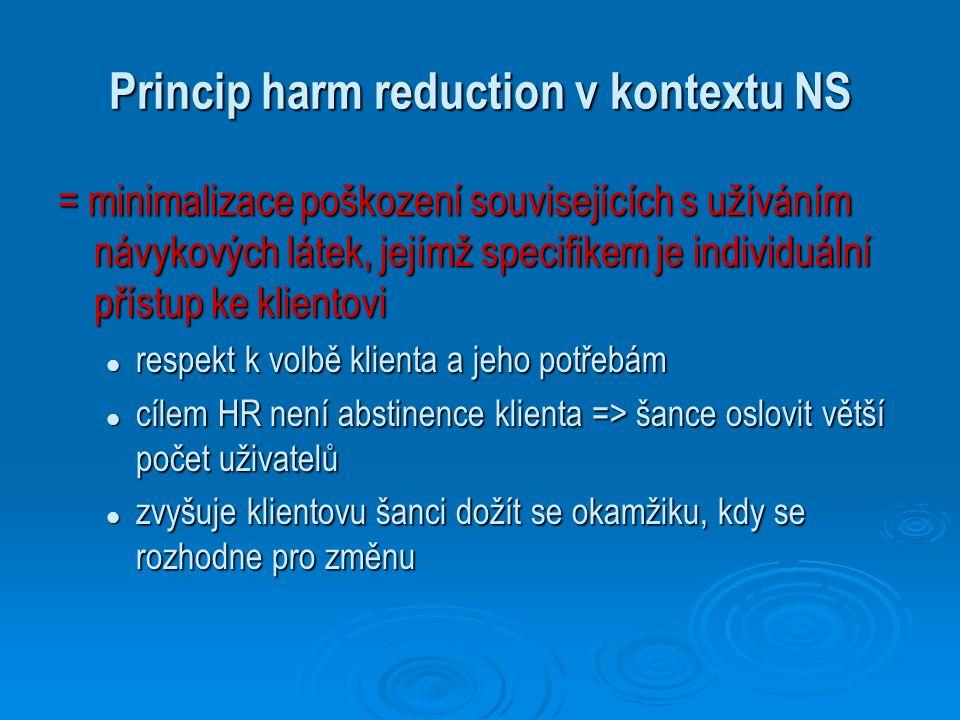 Princip harm reduction v kontextu NS = minimalizace poškození souvisejících s užíváním návykových látek, jejímž specifikem je individuální přístup ke