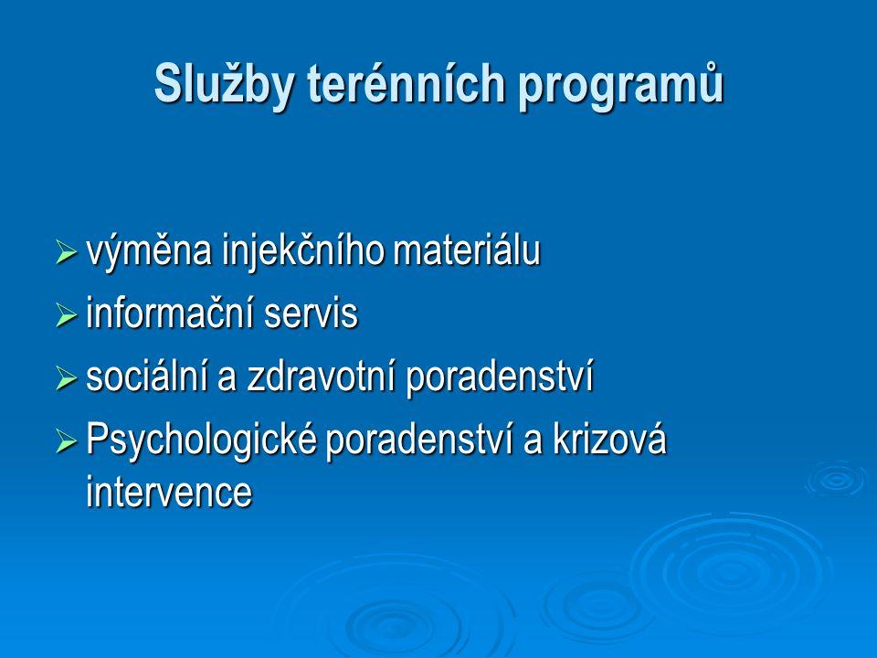 Služby terénních programů  výměna injekčního materiálu  informační servis  sociální a zdravotní poradenství  Psychologické poradenství a krizová i