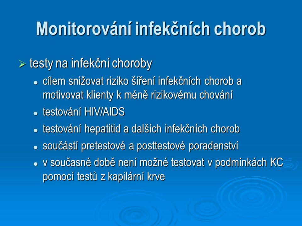 Monitorování infekčních chorob  testy na infekční choroby cílem snižovat riziko šíření infekčních chorob a motivovat klienty k méně rizikovému chován
