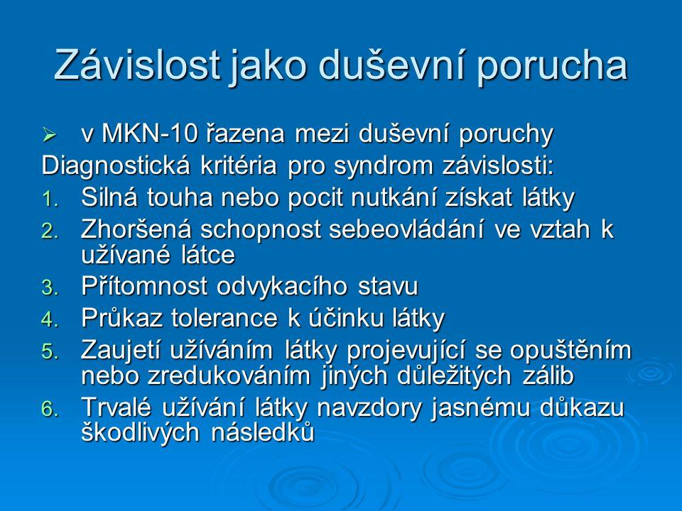 Závislost jako duševní porucha  v MKN-10 řazena mezi duševní poruchy Diagnostická kritéria pro syndrom závislosti: 1. Silná touha nebo pocit nutkání