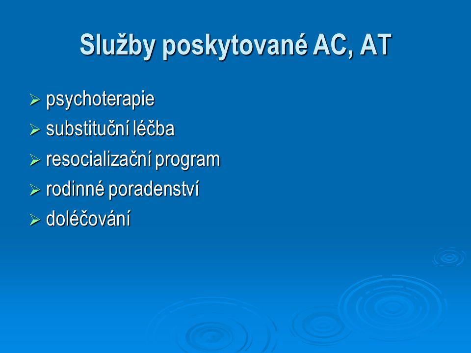 Služby poskytované AC, AT  psychoterapie  substituční léčba  resocializační program  rodinné poradenství  doléčování