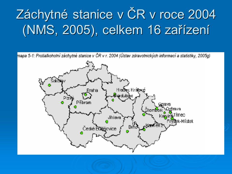 Záchytné stanice v ČR v roce 2004 (NMS, 2005), celkem 16 zařízení