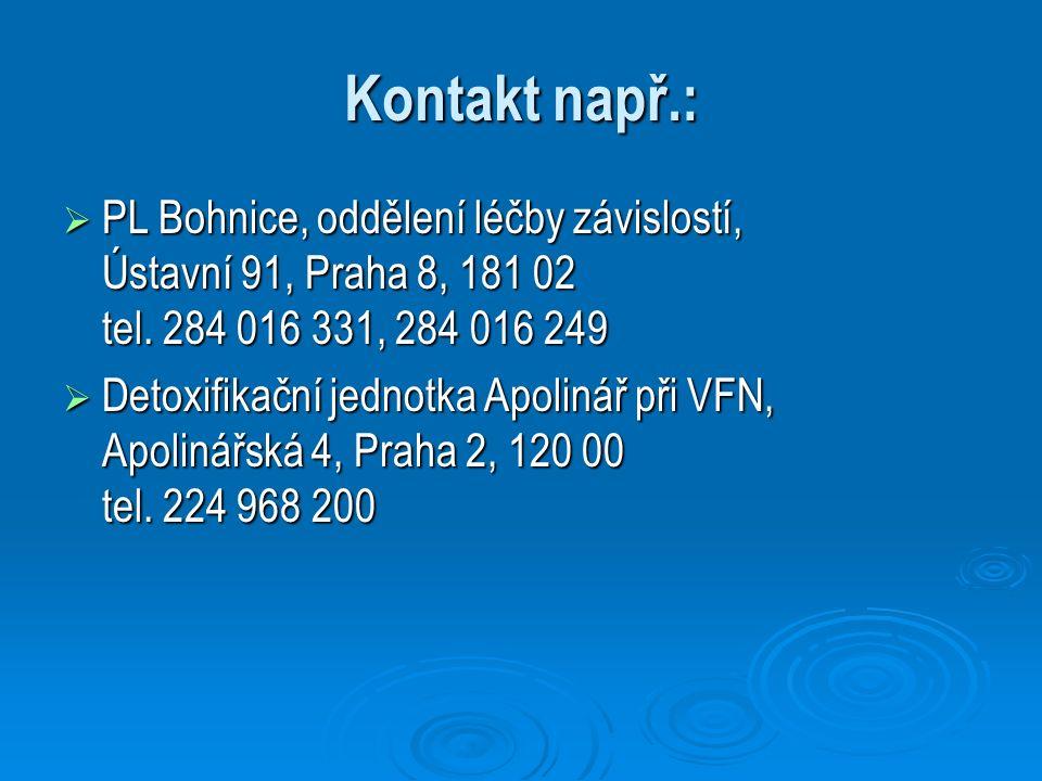 Kontakt např.:  PL Bohnice, oddělení léčby závislostí, Ústavní 91, Praha 8, 181 02 tel. 284 016 331, 284 016 249  Detoxifikační jednotka Apolinář př