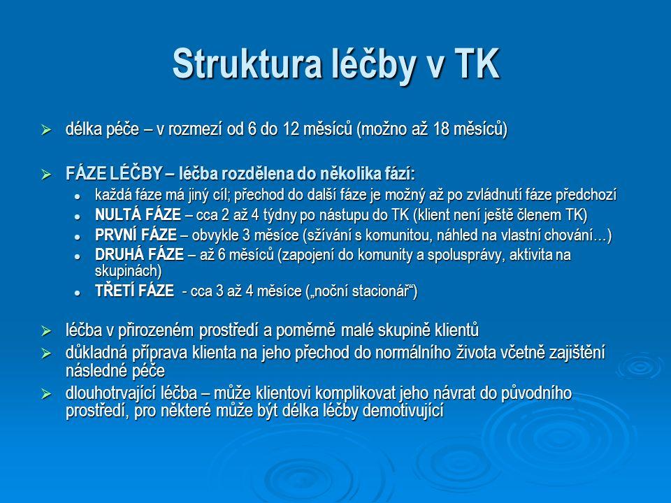 Struktura léčby v TK  délka péče – v rozmezí od 6 do 12 měsíců (možno až 18 měsíců)  FÁZE LÉČBY – léčba rozdělena do několika fází: každá fáze má ji