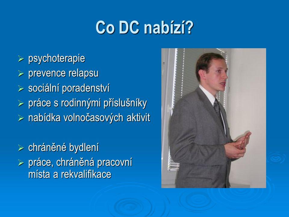Co DC nabízí?  psychoterapie  prevence relapsu  sociální poradenství  práce s rodinnými příslušníky  nabídka volnočasových aktivit  chráněné byd