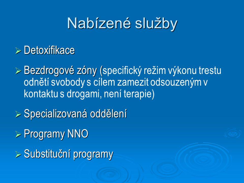 Nabízené služby  Detoxifikace  Bezdrogové zóny (  Bezdrogové zóny ( specifický režim výkonu trestu odnětí svobody s cílem zamezit odsouzeným v kont