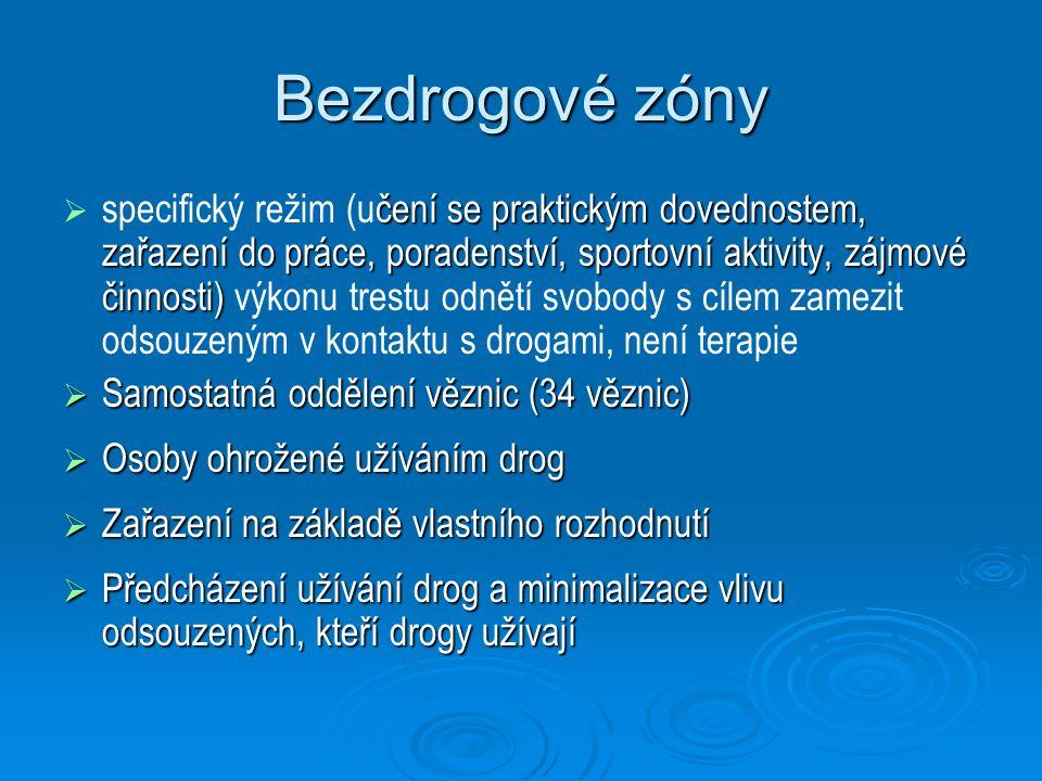 Bezdrogové zóny  čení se praktickým dovednostem, zařazení do práce, poradenství, sportovní aktivity, zájmové činnosti)  specifický režim (učení se p