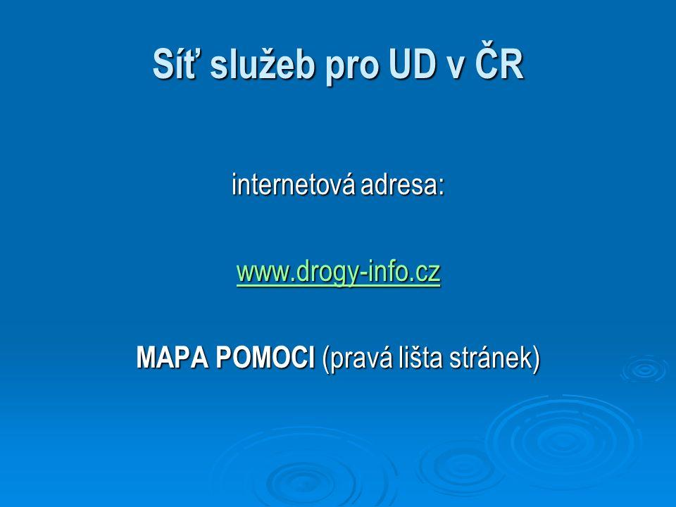 Síť služeb pro UD v ČR internetová adresa: www.drogy-info.cz MAPA POMOCI (pravá lišta stránek)