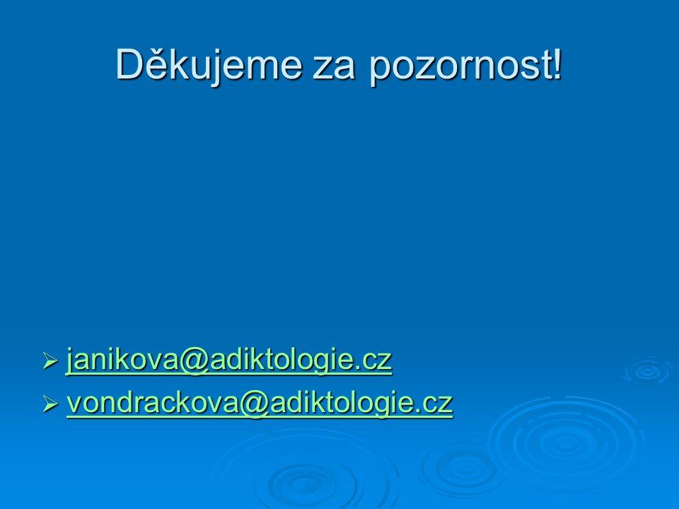 Děkujeme za pozornost!  janikova@adiktologie.cz janikova@adiktologie.cz  vondrackova@adiktologie.cz vondrackova@adiktologie.cz