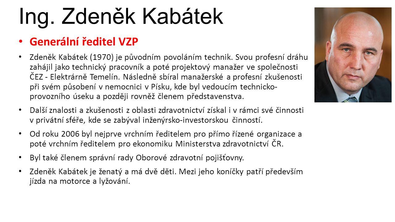 Ing. Zdeněk Kabátek Generální ředitel VZP Zdeněk Kabátek (1970) je původním povoláním technik.