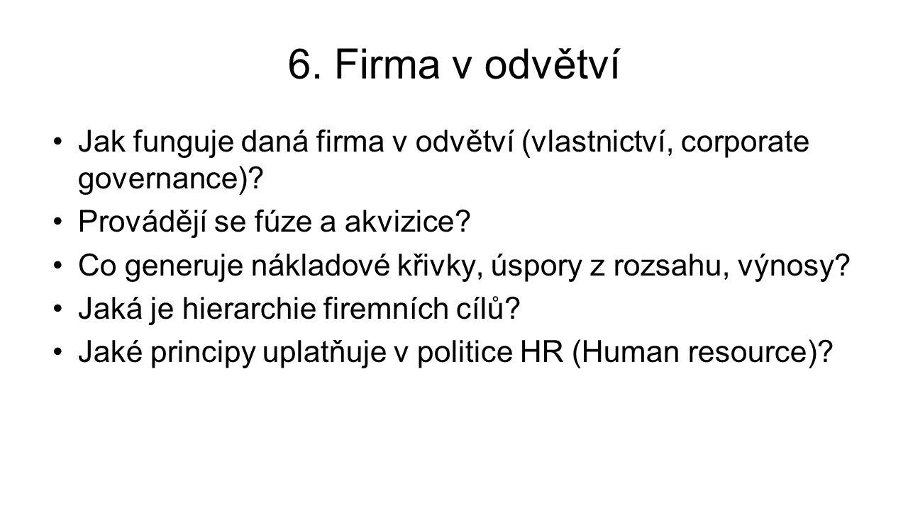 6. Firma v odvětví Jak funguje daná firma v odvětví (vlastnictví, corporate governance).